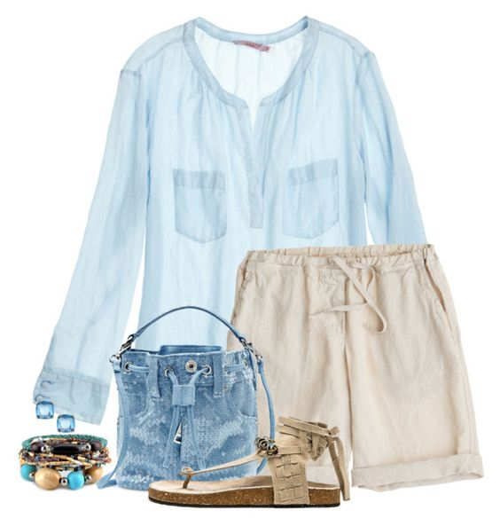 """""""Linen Shorts"""" by terry-tlc ❤ liked on Polyvore featuring Calypso St. Barth, CP Shades, Moschino, Free People, Fragments and linenshorts"""