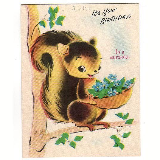 Squirrel On Branch Vintage 1950s Charm Craft Birthday Greeting Card Used Birthday Greetings Birthday Greeting Cards Vintage Greeting Cards