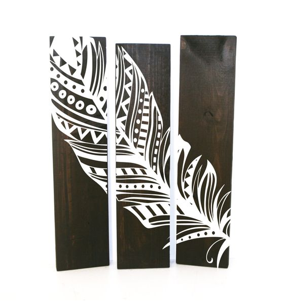 Reclaimed Espresso Wood Aztec Feather Sign Set of 3 - Wood Wall Decor, Gift for Her, Aztec Tribal Bedroom Decor by LEVinyl on Etsy
