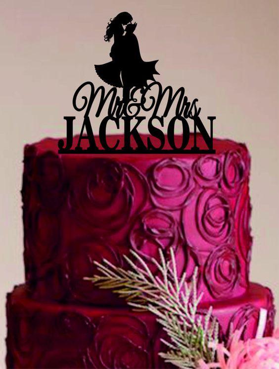 Mariée et marié Wedding Cake Topper, Batman Silhouette, Mr et Mme Wedding Cake Topper, Unique gâteaux de mariage, gâteaux de mariage personnalisés