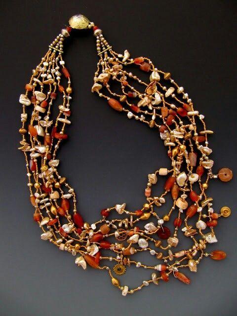 Assortment of antique Mali carnelian, antique Indian high karat gold, pearls...Lucia Antonelli~<3