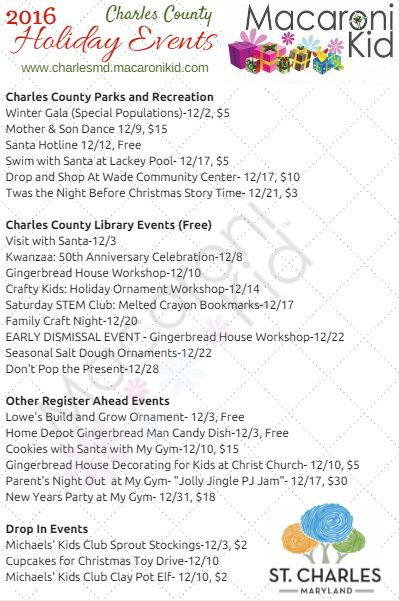 Charles County Holiday Events 2016 | Macaroni Kid