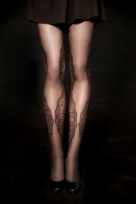 $30 Hand Printed sheer Tights - La Boheme, Black on sheer black, Flash Back collection