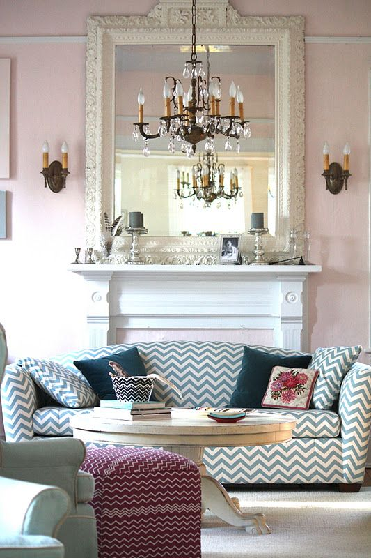 """Benjamin Moore Paint - """"Pink Cloud"""": Big Mirror, Pink Walls, Country House, Living Room, Family Room, Chevron Couch"""
