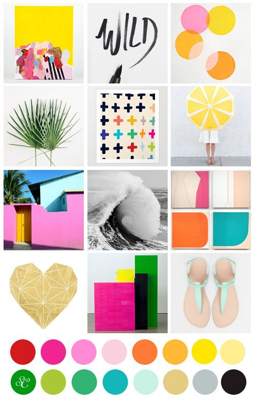 Bright and bold mood board