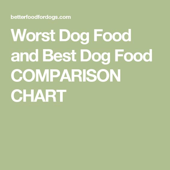 Worst Dog Food and Best Dog Food COMPARISON CHART
