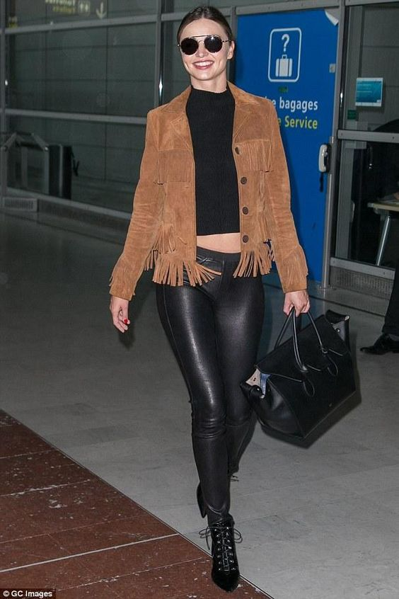 prada nylon bag with chain strap - Miranda Kerr wearing Helmut Lang Skinny Leather Pants, Prada Spr ...