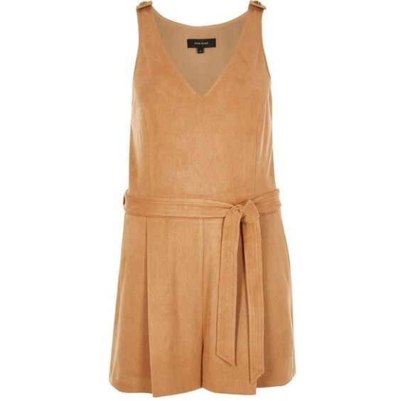 River Island Tan faux suede playsuit (83 CAD) ❤ liked on Polyvore featuring jumpsuits, rompers, playsuits, river island, deep v neck romper and playsuit romper