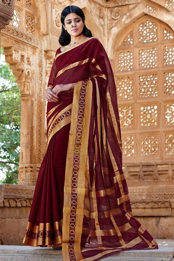 Online Shopping of Marvelous Maroon Color Cotton Saree from SareesBazaar…