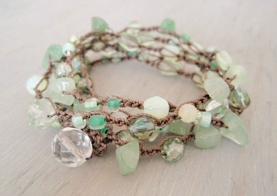 Crochet stone bracelet