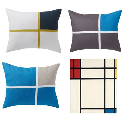 Un coussin en lin comme un tableau de Mondrian - Lina Forlino