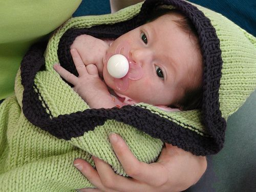 Hoodie Baby Blanket, free pattern with several variations,  by QueenieVonSugarpants