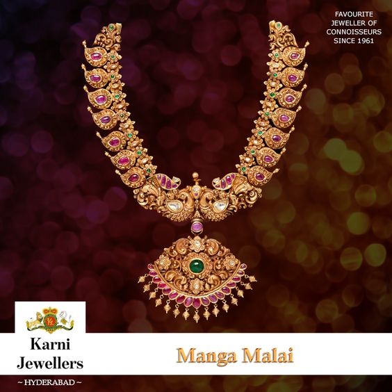 Manga 'mango' malai 'garland' is unique to South India and is traditionally worn for special occasions such as weddings. Mango is regarded as a symbol of love and fertility. This necklace demonstrates the South Indian preference for cabochon rubies.