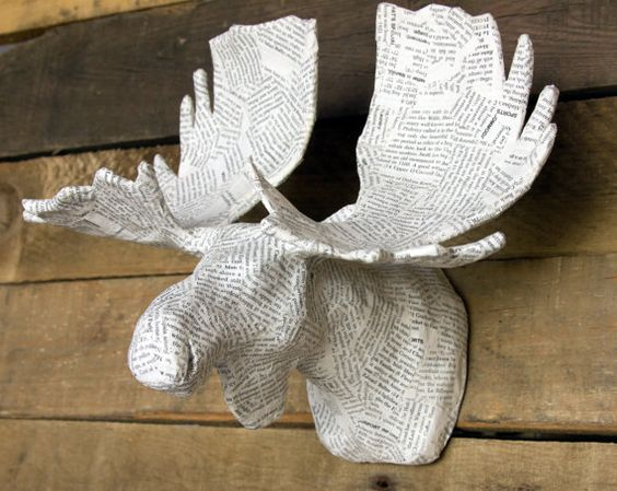 Paper Mache Animal Head Sculpture Moose Faux By