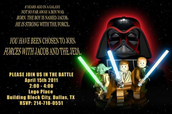 Free Printable Lego Star Wars Party Invitations: | Cow Shaloch ...