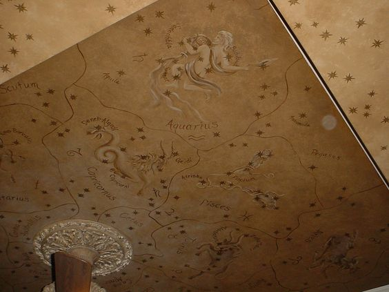 Ancient zodiac map painted on a bedroom ceiling embedded for Constellation ceiling mural