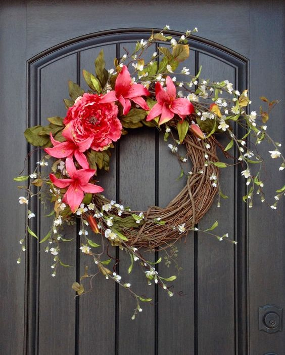 spring wreath summer wreath floral white branches door wreath