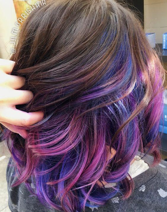Rainbow Unicorn Hair Purple Pink Blue Underlights Joico Intensity Waves And Curls Galaxy Hair Hair Styles Dark Purple Hair Peekaboo Hair