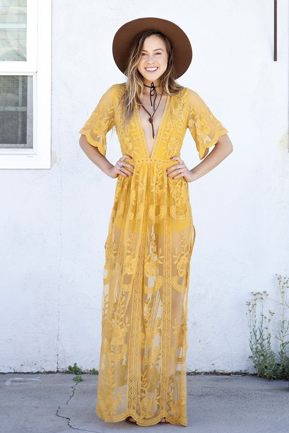 MUSE LACE MAXI DRESS - YELLOW - Dresses + Rompers - Shop