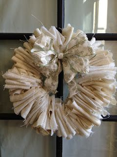Tutorial 20 minute burlap wreath... this was soooo easy to make!  Used a wire hanger for wreath form.
