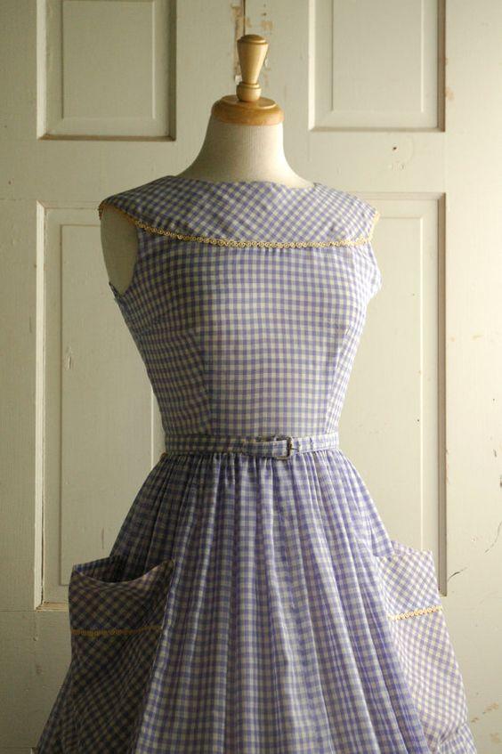 1950s Gingham Day Dress / Vintage Summer Dress by DalenaVintage, $82.00