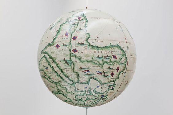 Sam Durant Antipodean Globe, 2011 Custom globe (acrylic, paper), steel cable, miscellaneous hardware 32 inches diameter (81.3 centimeters)