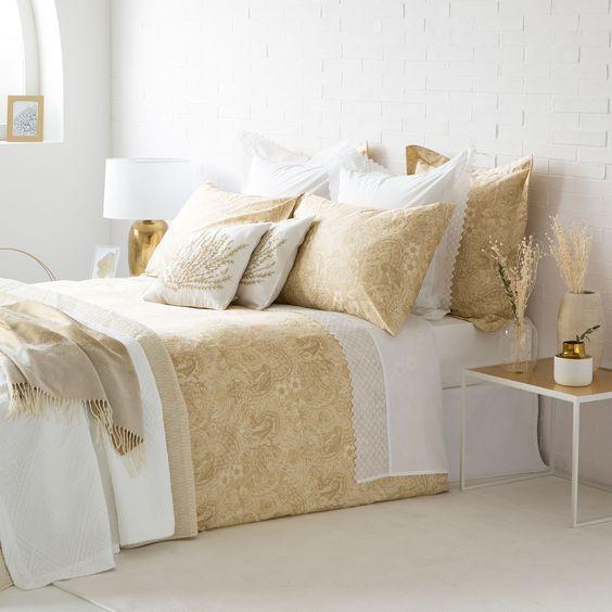 S banas y fundas sat n estampado dorado zara home sat n - Zara home cortinas dormitorio ...