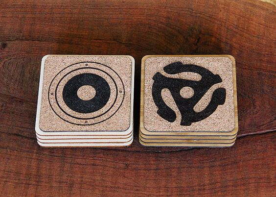 Handmade Cork and Wood Coasters - Audio Designer Quartet (Turntable, Record, Speaker, 45 Adapter)