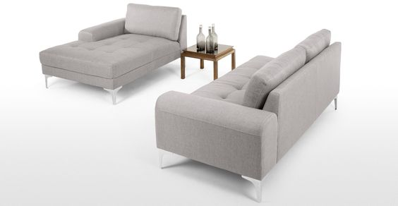 Vittorio Right Hand Facing Corner Sofa Group in pearl grey | made.com