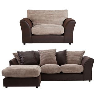 Buy HOME New Bailey Reg Left Corner Sofa and Snuggler Chair -Nat at Argos.co.uk…