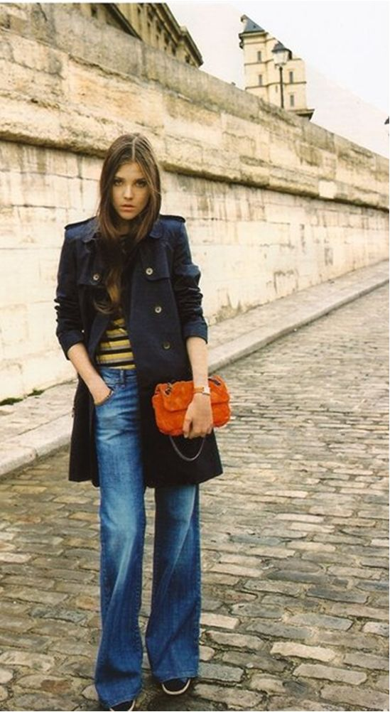Wide Leg Jeans + Blue Trench