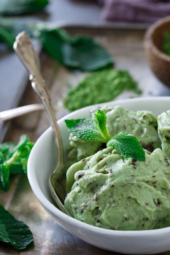 Dairy and gluten free Matcha Mint Chocolate Chunk Ice Cream is a refreshing treat for summer!: