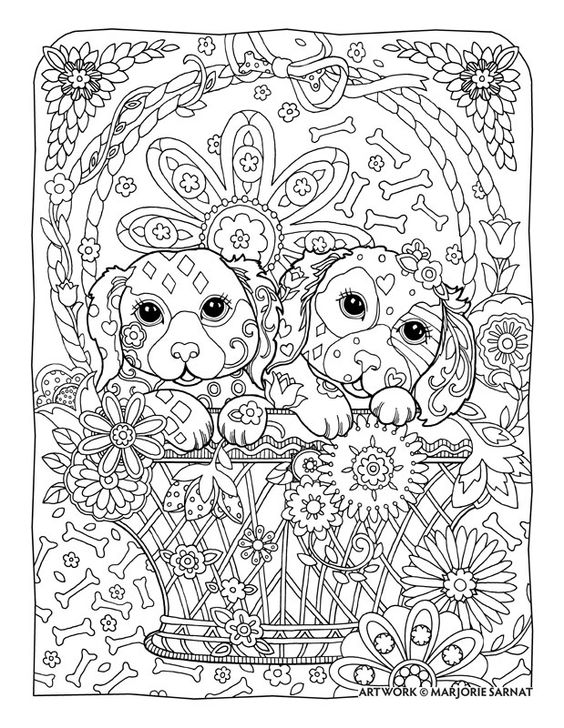 "Creative Haven Dazzling Dogs Coloring Book by Marjorie Sarnat, ""Two Pups in a Basket"":"