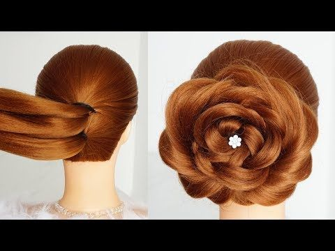 Flower Bun Hairstyle For Girls Easy Hairstyle For Long Hair Hairstyles Tutorial For Wedding Girl Hairstyles Bun Hairstyles Easy Hairstyles For Long Hair