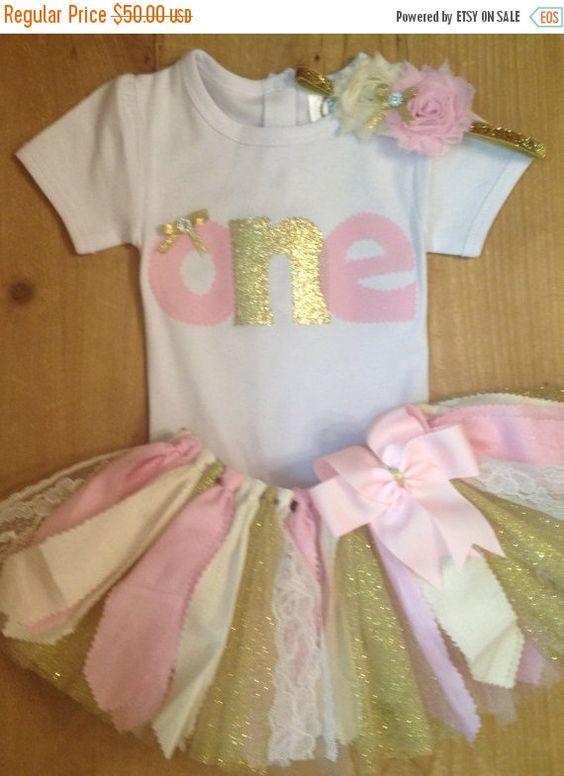 AUF Verkauf hell rosa, Elfenbein und Gold Geburtstag Schrott Stoff Tutu Outfit