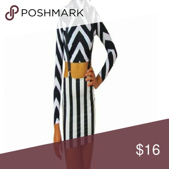 B&W stripe skirt with suspenders Black and white striped shirt with suspenders is very cute and stylish. Don't miss out on this piece. Skirts Mini