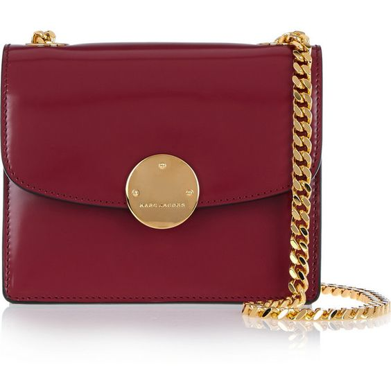 Marc Jacobs Trouble mini glossed-leather shoulder bag (18.341.975 IDR) ❤ liked on Polyvore