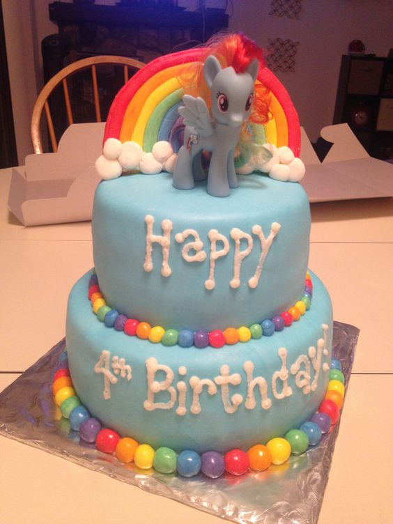 My little pony cake / rainbow dash cake, I like the colored balls around the base