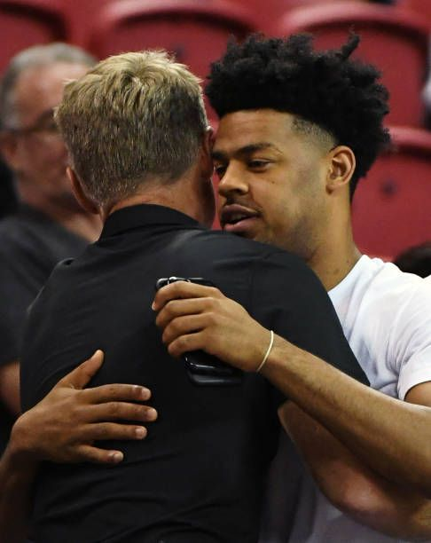 Head Coach Steve Kerr Of The Golden State Warriors Greets Quinn Cook Steve Kerr Golden State Warriors Greets
