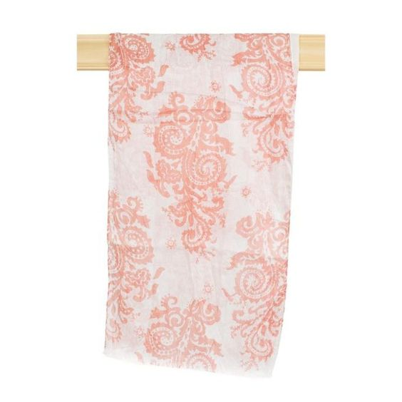 Coral Paisley Print Scarf