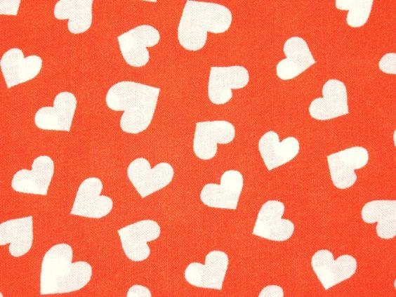 Stoff Herzen - Baumwolle orange mit Herzen Ökotex 100 - ein Designerstück von Stoffeundmehr bei DaWanda