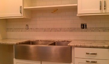 Kitchen Backsplash White 3x6 Subway Tile White Gray Marble Mosaic Accent Contemporary