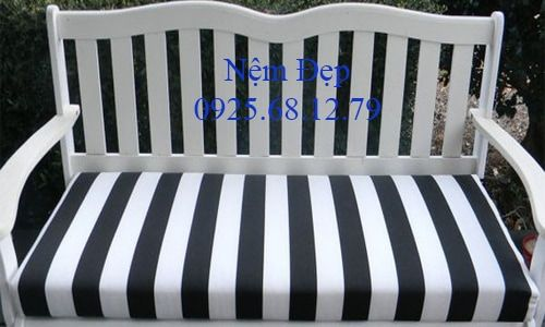 in outdoor swing bench cushion black and white stripe choice of size