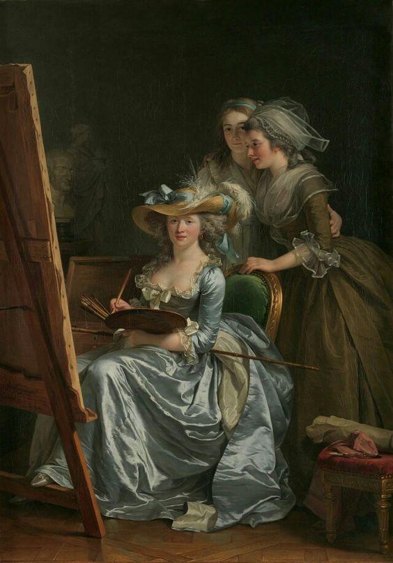 painter Adélaïde Labille-Guiard (*1749+1803), also Adélaïde Labille-Guiard des Vertus, miniaturist+portrait painter_on 31.May 1783, Adelaide & #Vigée-Le Brun(*1755+1842)was accepted as a members of France's Académie Royale de Peinture et de Sculpture) & her pupils Marie Gabrielle Capet (1761–1818) and Marie Marguerite Carreaux de Rosemond (died 1788)