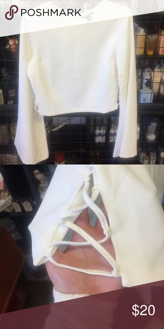 Forever 21 size large shirt White flared sleeve dress shirt with open sides. Tops Blouses