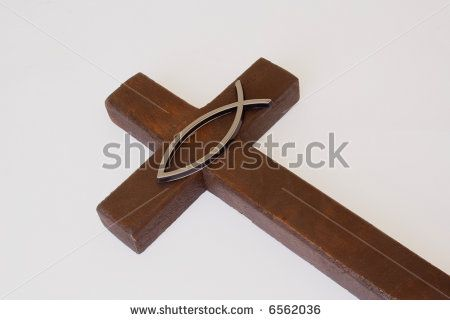 Religious Fish Sign Over Wooden Cross Stock Photo 6562036 : Shutterstock