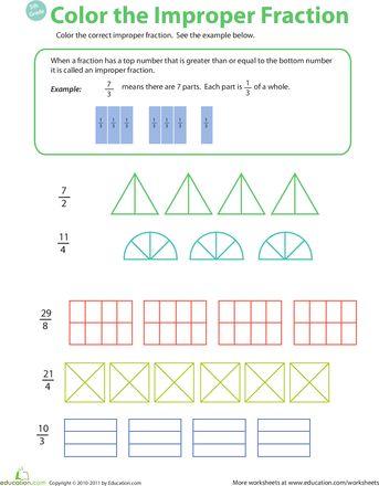 math worksheet : introduction to improper fractions 2  fractions and worksheets : Intro To Fractions Worksheet