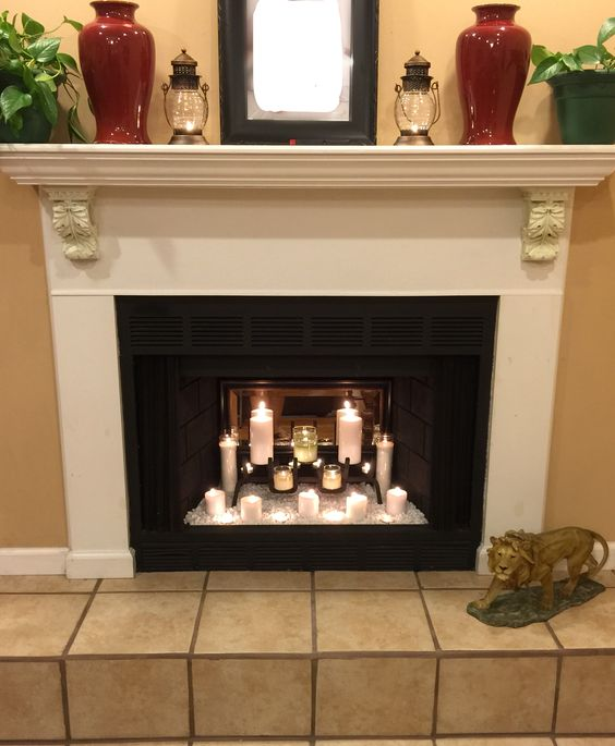 Candles In A Fireplace Pictures: Fireplace Makeover With Candles And Mirror. Another Dollar
