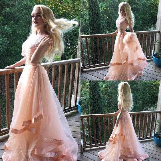Gorgeous Two Pieces Beads 2016 Prom Dress Tulle Ruffles Romantic Evening Dress