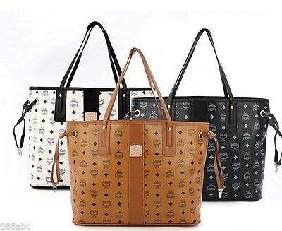 MCM Shopper Bag Tote Shoulder Bag handbag Brown White Black